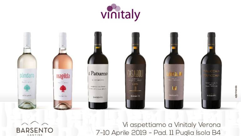 Vi aspettiamo al Vinitaly di Verona dal 7 al 10 Aprile 2019 all'interno del Padiglione della Puglia