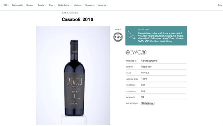 Medaglia d'Argento per il Casaboli all'International Wine Challenge